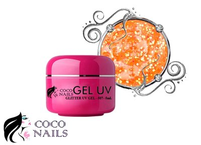 Uv color gel met glitter Licht oranje